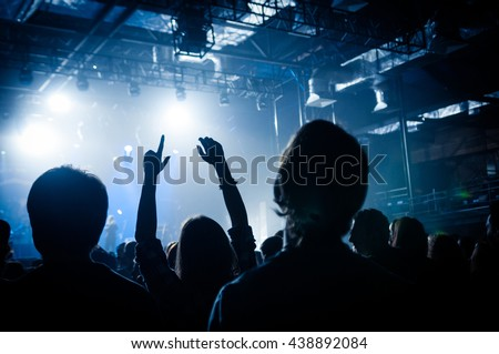 Fans with raised hands at the concert