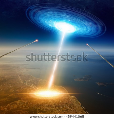 Fantastic background - aliens spaceship hits big town near sea, aliens invasion, missiles attack UFO. Elements of this image furnished by NASA