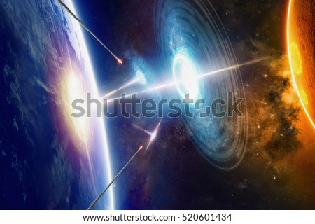 Fantastic background - extraterrestrial aliens spaceships hits planet Earth, aliens invasion, missile defense from ufo, war in space. Elements of this image furnished by NASA