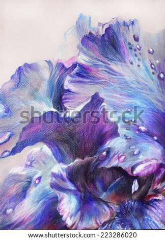 Fantastic beautiful flower with blue, purple and violet petals and drops of dew. Hand drawing with crayons on textured paper. - stock photo