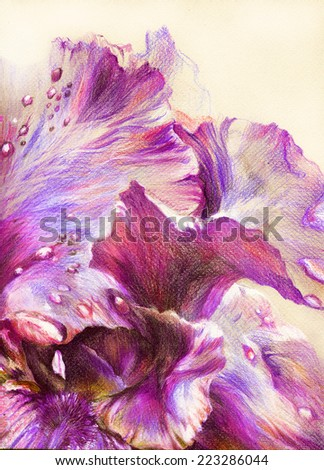 Fantastic beautiful flower with lilac, purple and violet petals and drops of dew. Hand drawing with crayons on textured paper. - stock photo