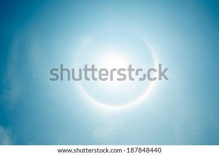 fantastic beautiful sun halo phenomenon - stock photo