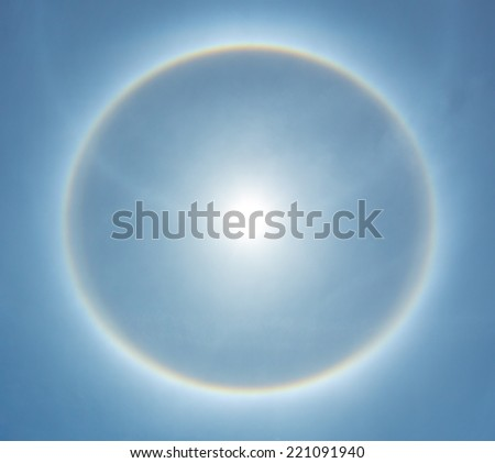 fantastic beautiful sun halo phenomenon in Thailand. - stock photo