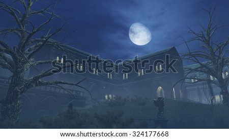 Fantastic big moon above old romantic mansion at misty night. Dead trees on foreground. Realistic 3D illustration was done from my own 3D rendering file.