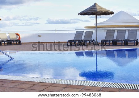 Fantastic blue water at swimming pool - stock photo