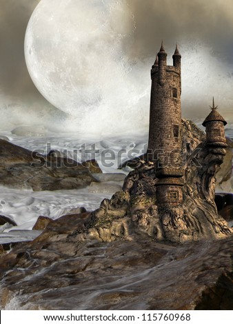Fantastic castle with rocks waves and a big moon - stock photo