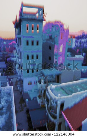 Fantastic city in a glacial age - stock photo