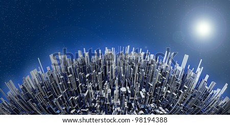fantastic city in background of sky - stock photo