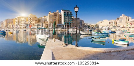 Fantastic city landscape on the seaside with boats. Malta, Europe - stock photo
