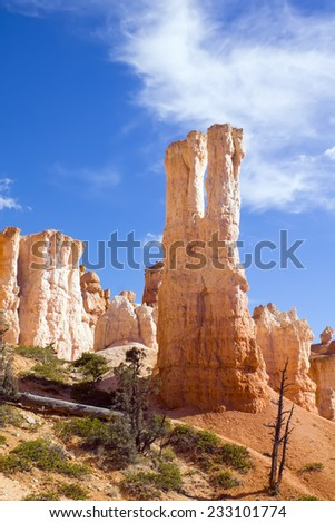 Fantastic cliffs in the National Park Bryce Canyon - stock photo