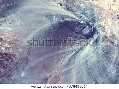 Fantastic clouds in soft blue and pink colors. Modern futuristic painting background with lighting effect. Fractal artwork for creative graphic design - stock photo