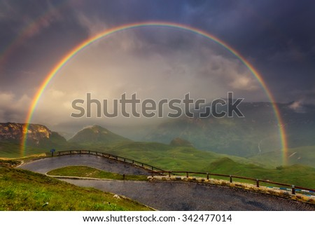 Fantastic evening landscape glowing by sunlight. Dramatic and picturesque scene. Location famous resort Grossglockner High Alpine Road. Austria, Alps. Europe. Beauty world. Warm toning effect. - stock photo