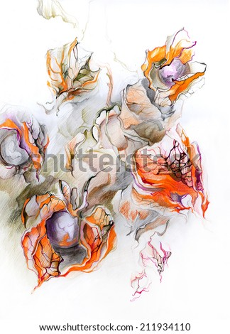 Fantastic exotic plants - fruits and flowers. Surrealism. Planet inside the buds. Drawing pencils and ink on paper.  - stock photo