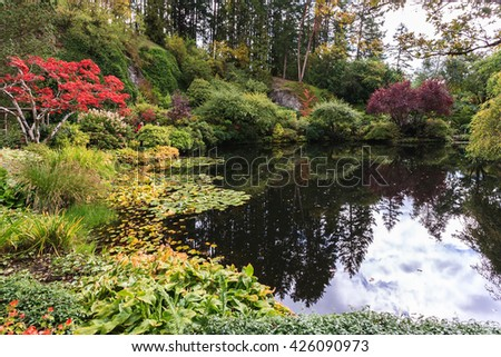Fantastic floral Butchart Gardens on Vancouver Island, Canada. Quiet pond, overgrown with lilies, among the weeping willows