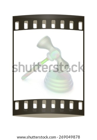 Fantastic gavel isolated on white background. The film strip - stock photo