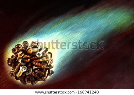 Fantastic illustration of a flying meteorite of bolts and screws - stock photo