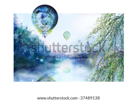 Fantastic illustration with balloons above the river at a city. A wonderful church stands ashore and it is part by balloons - stock photo