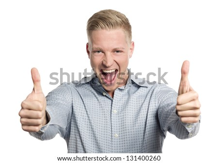 Fantastic job: Excited young businessman giving thumbs up while shouting isolated on white background. - stock photo
