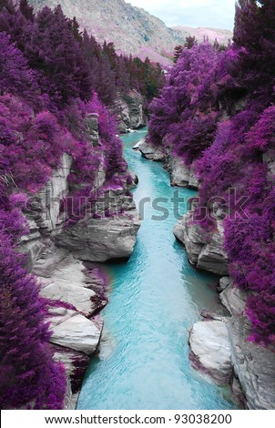 Fantastic Landscape Purple Pine Forest Mountain And Blue Stream, Beauty  Nature Scenery View Background.