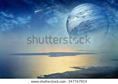 fantastic landscape with a large planet in the sky