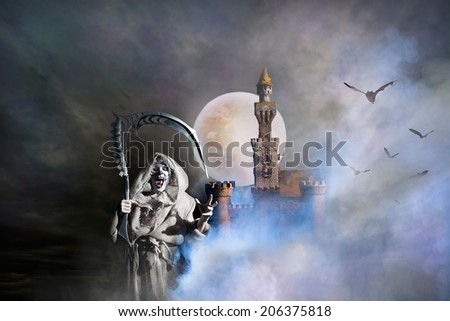 Fantastic landscape with a old castle and a ghost - stock photo