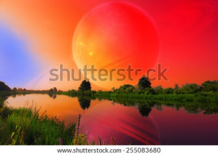 Fantastic Landscape with Large Planet over Tranquil River  - stock photo