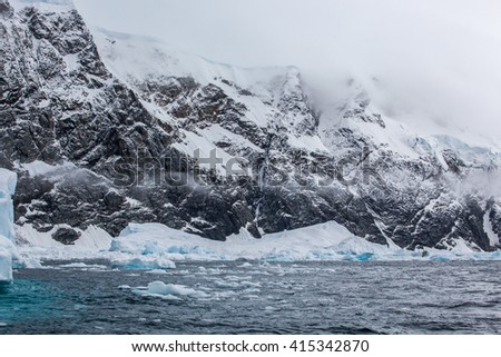 Fantastic landscapes of beautiful snow-capped mountains,  ocean, Antarctica - stock photo