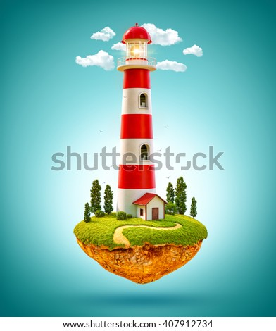 Fantastic lighthouse on a levitating island. 3D illustration - stock photo