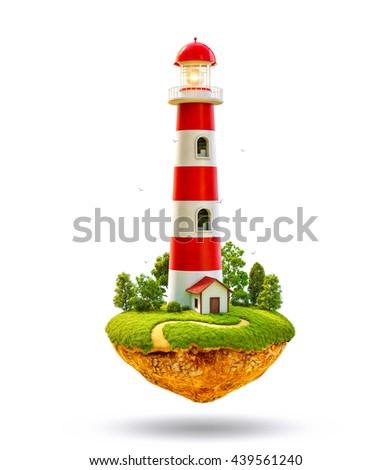 Fantastic lighthouse on a levitating island. Unusual creative 3d illustration Isolated at white background - stock photo