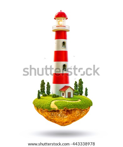 Fantastic lighthouse on a levitating island. Unusual creative 3d summer illustration Isolated at white background