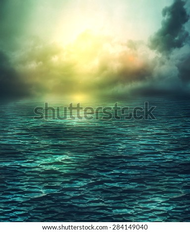Fantastic magical seascape illustration with dreamy light effects.