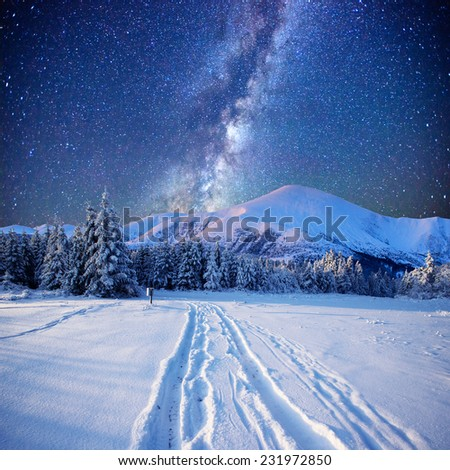 fantastic milky way in the New Year's Eve - stock photo