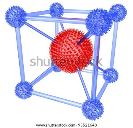 Fantastic molecular lattice with thorns on a white background - stock photo