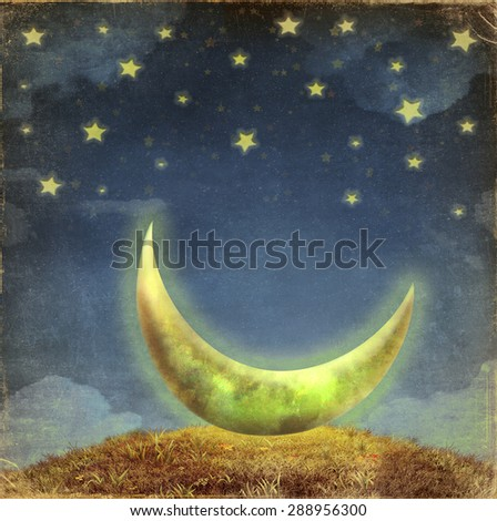 Fantastic moon and stars   at night sky  - stock photo