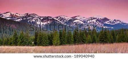 Fantastic morning mountain landscape. Colorful sky. Carpathian, Ukraine, Europe. Beauty world. - stock photo