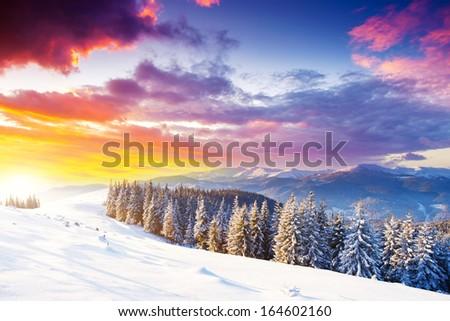 Fantastic morning mountain landscape. Overcast colorful sky. Carpathian, Ukraine, Europe. Beauty world. - stock photo