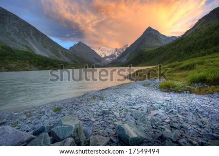 Fantastic mounatainlake. Shot in a mountain. - stock photo
