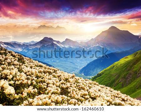 Fantastic mountain landscape with colorful cloud. Dramatic overcast sky. Upper Svaneti, Georgia, Europe. Caucasus mountains. Beauty world. - stock photo