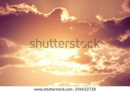 Fantastic sky cloud and sun. Vintage filter. - stock photo