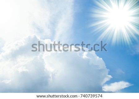 Fantastic soft white clouds against blue sky