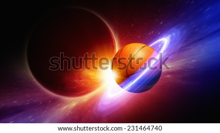 Fantastic sports background - basketball in space looks like planet with rings, bright star, big dark planet. Elements of this image furnished by NASA