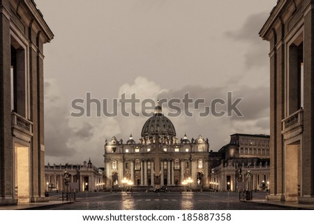 Fantastic St. Peter's Basilica in the Vatican of Rome / Italy. Beautiful Light at the Blue Hour before Sunrise. Famous Landmark and Travel Spot in Europe - stock photo