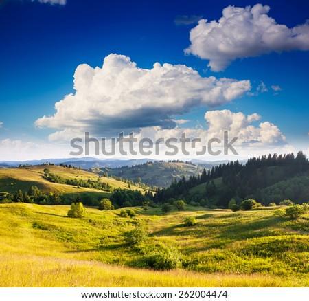 Fantastic sunny day in mountain landscape. Dramatic morning scenery. Carpathian, Ukraine, Europe. Beauty world. - stock photo