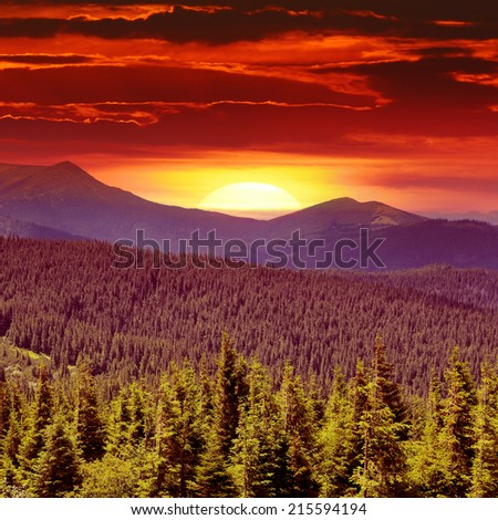 fantastic sunrise in the mountains - stock photo