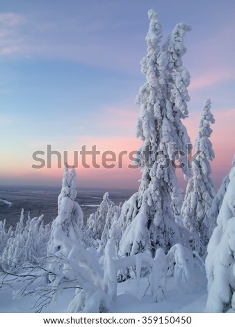 Fantastic sunset in the winter in the Ural Mountains - stock photo