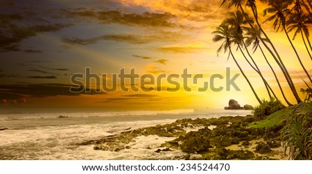 Fantastic sunset on the ocean - stock photo