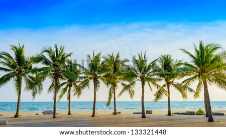 Fantastic tropical beach with palms, Thailand - stock photo