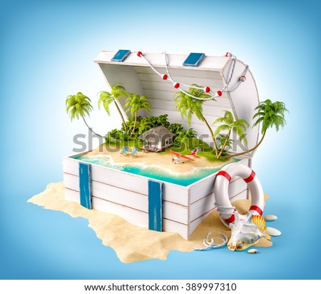 Fantastic tropical island with bungalow and deck chairs in opened wooden box on a pile of sand - stock photo