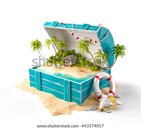 Fantastic tropical island with bungalow and deck chairs in opened wooden box on a pile of sand. Unusual creative 3d summer illustration Isolated at white