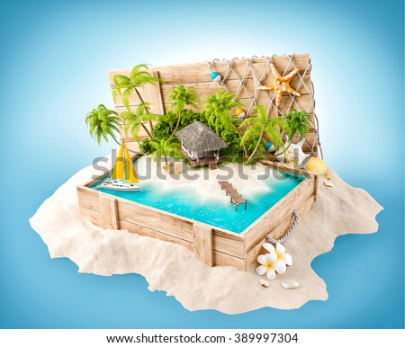 Fantastic tropical island with bungalow in opened wooden box on a pile of sand